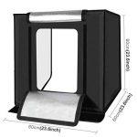 PULUZ Photographie Boîte à lumière Studio photo portable Tente de prise de vue de studio Tente pliable Mini kit d'éclairage de table à LED avec lumières LED intégrées et arrière-plan 3 couleurs (noir, orange, blanc) Taille : 60cm x 60cm x 60cm prise EU. d image 1 produit