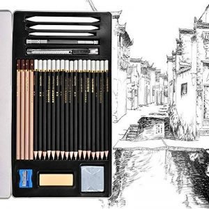 Queta Crayons de Dessin Set d'Outils de Peinture au Crayon Crayon de Croquis Esquisse Crayons Ensemble de Papeterie Ensemble de Crayons Croquis Professionnel de Dessin avec boîte en fer de la marque Queta image 0 produit