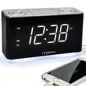 Radio-réveil iTOMA, radio FM numérique, double alarme, port de charge USB pour téléphone cellulaire, veilleuse, gradateur automatique et manuel, répétition, minuterie de veille, AUX-IN, pile de secours (CKS507) de la marque iTOMA image 0 produit