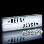 Relaxdays Boîte lumineuse LED avec lettres et symboles Lightbox piles 85 signes HxlxP: 15 x 50 x 5,5 cm, boîte noire de la marque Relaxdays image 1 produit