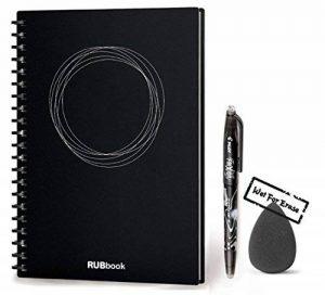 """RUBbook Cahier 3.0, Effaçable, Réutilisable à Spirale Ordinateur Portable Carnet, inclure un stylo effaçable, inclure une gomme à effacer, A5-5.8""""x8.2""""(Noir) de la marque RUBbook image 0 produit"""