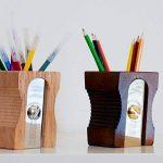 SUCK UK Pot à crayons design Taille-crayons géant Beige et chrome Bois et métal acier inoxydable de la marque Suck image 3 produit