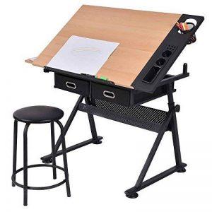 Table à dessin inclinable avec tabouret multifonctionnel métal hauteur réglable de la marque Blitzzauber24 image 0 produit