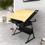 Table à dessin inclinable avec tabouret - plateau inclinable - 2 grands tiroirs - 118 x 62 x 68,5 cm -106( L x P x H) de la marque vidaXL image 1 produit