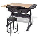 Table à dessin inclinable avec tabouret - plateau inclinable - 2 grands tiroirs - 118 x 62 x 68,5 cm -106( L x P x H) de la marque vidaXL image 3 produit