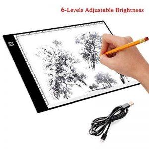 Tablette Lumineuse, Luminosité Réglable A4 Super Mince avec Cable USB Lumineuse Dessin LED Copy Light Box pour dessiner & encrer les Dessins (Luminosité réglable sur 6 niveaux) de la marque EZESO image 0 produit