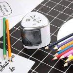 Taille Crayon Electrique, Cuitan Automatique Taille-Crayon 2 trous (6-8mm 9-12mm) Alimenté par Batterie AA (Non inclus) pour Les Enfants de L'école, La classe, Le bureau - Argent de la marque Cuitan image 3 produit