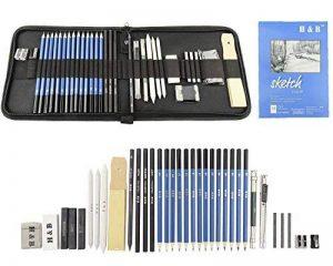 Tomkity 36PCS Crayons de Dessin Crayons Croquis Kit de Croquis Dessin avec Sac Inclus Gomme Crayon de Charbon Graphite Outils pour Dessiner de la marque Tomkity image 0 produit