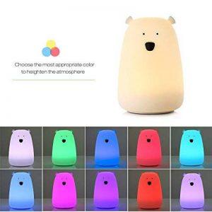 Veilleuse chat lED Joyhero Lumière de nuit Enfant Bébé Silicone 3 Modes 7 couleurs USB Rechargeable Lampe de chevet Tap Control Cadeaux pour des enfants Femmes de la marque Joyhero image 0 produit