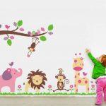 Walplus Set de stickers muraux Motif animaux de la jungle fantaisie Grand format de la marque Walplus image 1 produit