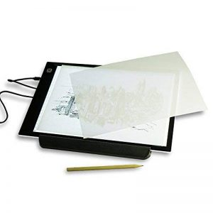 Work4U Tablette Lumineuse, Super Mince Décalquer LED Copy Plaque Avec Luminosité Progressive, A4 Taille Pad Pour Dessiner Tatouage Esquisse Architecture Calligraphie Artisanat Avec Cable USB de la marque Work4U image 0 produit